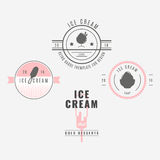 Set of ice-cream shop labels, logotypes and design elements. Vin Royalty Free Stock Photos