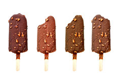 Set of ice cream on a stick isolated on white background. Royalty Free Stock Images