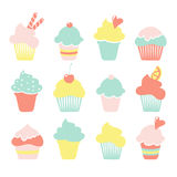Set of  ice cream, sundae, cupcake icons in pastel colors,  s Royalty Free Stock Images