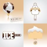 Set of ice cream vector logo, sign, symbol, emblem, illustration Royalty Free Stock Photography
