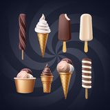 Set of ice cream. Vector set of variety of ice cream isolated on blue background Royalty Free Stock Images