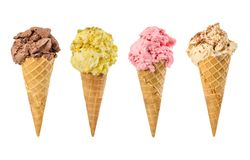 Set of ice cream in waffle cone. Isolated on white background royalty free stock images