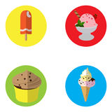 Set of ice creams and cupcakes Royalty Free Stock Image