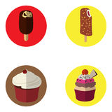 Set of ice creams and cupcakes Stock Photography