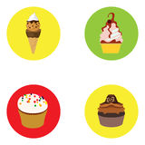 Set of ice creams and cupcakes Royalty Free Stock Images