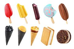 Set of ice creams. Set of different ice creams isolated on white background stock photo