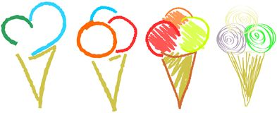 Set of ice creams isolated Royalty Free Stock Images