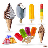 Set of ice-creams and popsicles. Stock Photos