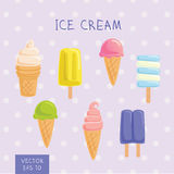 Set of ice-creams and popsicles. Vector Illustration. Set of ice-creams and popsicles. Vector Eps 10 Stock Images