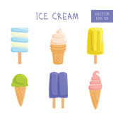 Set of ice-creams and popsicles. Vector Illustration Stock Image