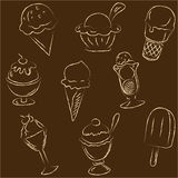 Set of ice creams sketches Stock Images