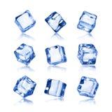 Set of ice cubes isolated on white background.  Royalty Free Stock Photos