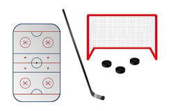 Set of ice hockey elements. There are hockey field, hockey-stick, hockey goal and pucks. Vector eps format 10 is available Royalty Free Stock Images