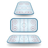 Set of ice hockey fields with different perspectives Royalty Free Stock Image