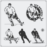 Set of ice hockey labels, emblems, icons, badges, design elements and silhouettes of the players. Black and white vector illustration