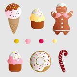 Set with ice lolly, cookies, donuts with cream. Drawing of a set with ice lolly, cookies, donuts with cream, cupcakes, bonbon and sprinkles with smile faces and Royalty Free Stock Photography