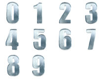 Set of ice numbers 0-9. Iced numbers isolated with clipping path Royalty Free Stock Photography