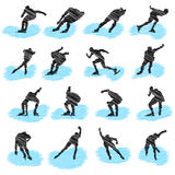 Set of ice-skating athlete grunge silhouettes Royalty Free Stock Images