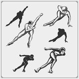 Set of ice skating labels, emblems and design elements. Vector illustration Stock Images