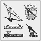 Set of ice skating labels, emblems and design elements. Vector illustration Royalty Free Stock Photo