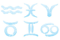 Set of ice zodiac signs Stock Photos