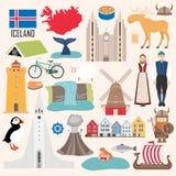 Set of Iceland symbols in flat style vector illustration