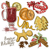 Set of icolated icons with ingredients for Mulled  Stock Image