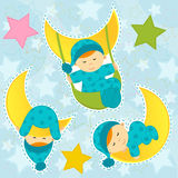 Set icon baby boy sleeping Royalty Free Stock Image
