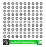 Set of 100 icon with background big data seo cloud and network v. Ector illustration eps10 Royalty Free Stock Image