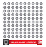 Set of 100 icon with background for web and mobile smart phone  Stock Photography