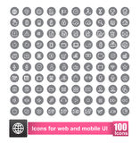 Set of 100 icon with background for web and mobile smart phone. Ui element vector illustration eps10 Royalty Free Stock Image