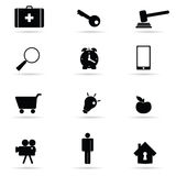 Set of icon in black vector illustration Royalty Free Stock Images