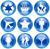 Set Icon Blue 01. Royalty Free Stock Photography