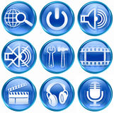 Set icon blue #03. Set icon blue #03, isolated on white background. Search and magnifier icon, Power icon, speaker icon, tools icon, film icon, movie clapper Royalty Free Stock Image