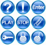 Set icon blue #05. Stock Photos