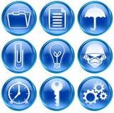 Set icon blue #06. Set icon blue #06, isolated on white background. Folder icon, Document icon, Umbrella icon, Paperclip icon, Light Bulb Icon, Army icon, clock Stock Photo