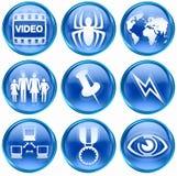 Set icon blue #09. Set icon blue #09, isolated on white background. Film icon, Virus icon, world icon, family icon, thumbtack icon, Lightning icon, Network icon Stock Photography