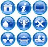 Set icon blue #10. Set icon blue #10, isolated on white background. Home icon, information icon, book icon, bomb icon, Cup icon, Tools icon, Radioactive icon Stock Photo