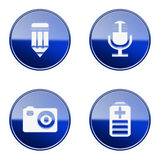 Set icon blue glossy #29. Royalty Free Stock Photos