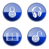 Set icon blue glossy #18. Stock Photo