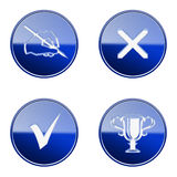 Set icon blue glossy #23. Stock Image