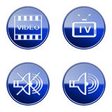 Set icon blue glossy #08. Royalty Free Stock Photo