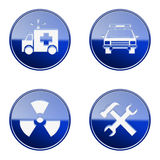 Set icon blue glossy #20. Stock Photos