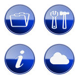 Set icon blue glossy #10. Royalty Free Stock Photography