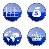 Set icon blue glossy #16. Set icon blue #16, isolated on white background. graph icon, dollar icon, World icon, Crown icon Stock Illustration