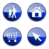 Set icon blue glossy #09. Stock Images