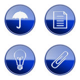 Set icon blue glossy #11. Royalty Free Stock Photo