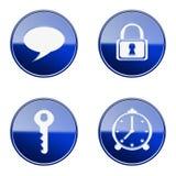 Set icon blue glossy #12. Set icon blue #12, isolated on white background. Lock icon, Key icon, alarm clock icon, Chat icon stock illustration