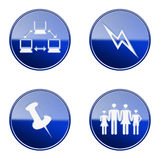 Set icon blue glossy #17. Stock Images