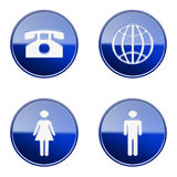 Set icon blue glossy #03. Stock Photography